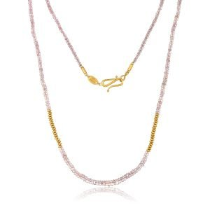 22K Gold Pink Sapphire Bead Necklace And Infinity Clasp