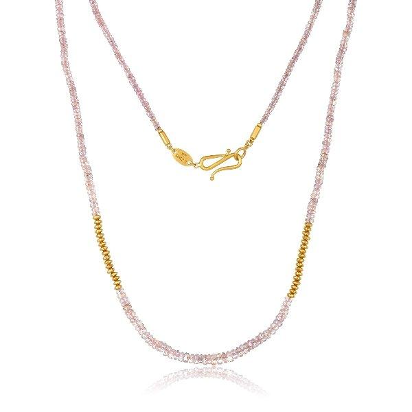 22 Karat Gold Pink Sapphire Bead Necklace