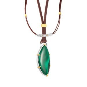 22K Gold Prongs Silver Frame Free Form Malachite Necklace On Brown Leather