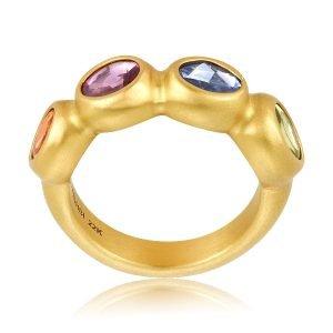 22 Karat Gold Rainbow Sapphire Cocktail Ring