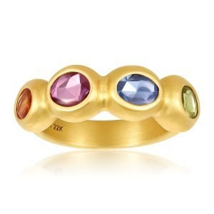 22K Gold Rainbow Sapphire Cocktail Ring