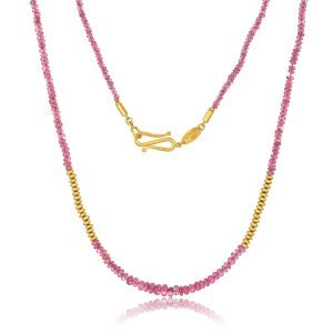 22K Gold Ruby Bead Necklace And Infinity Clasp