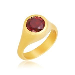 22K Gold Solitare Garnet Ring
