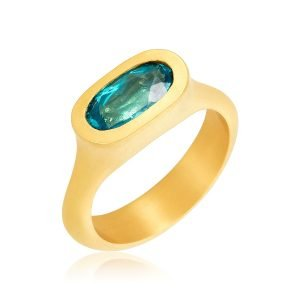 22K Gold Solitare Oval Paraiba Apatite Ring