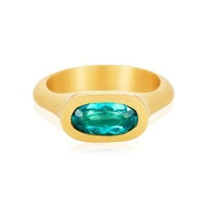 22 Karat Gold Solitaire Oval Paraiba Apatite Ring