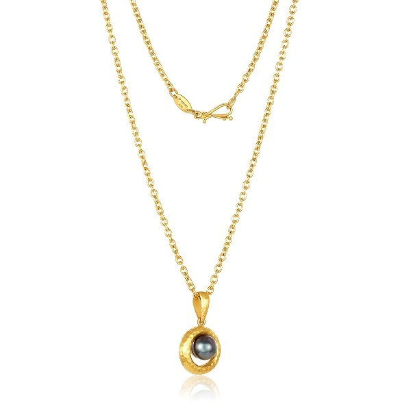 22K Gold Tahitian Pearl Necklace And Oval Links Chain With Infinity Clasp
