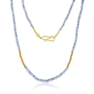 22K Gold Tanzanite Bead Necklace And Infinity Clasp