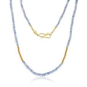 22 Karat Gold Tanzanite Bead Necklace
