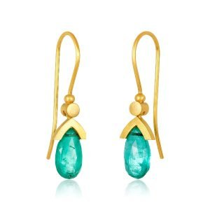 22K Gold Tear Drop Emerald Earrins