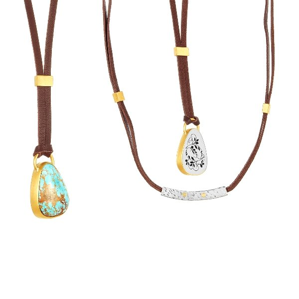 22 Karat Gold Wrapped Silver Leaves Turquoise Necklace