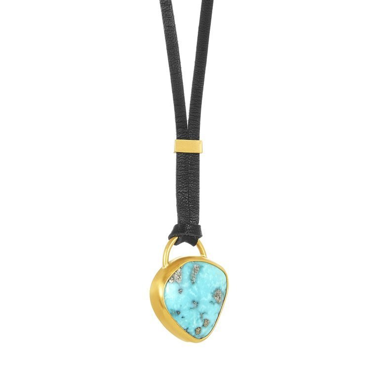 22 Karat Gold Wrapped Silver Hearts Turquoise Necklace