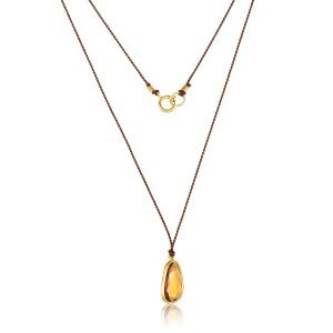 22K Gold Wrapped 2CT Spessarite Charm Necklace Brown Silk And Spring Clasp