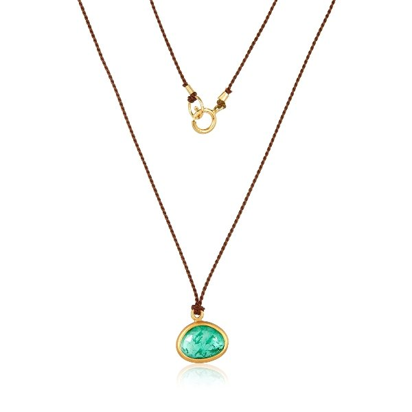 22K Gold Wrapped Emerald On Silk Cord