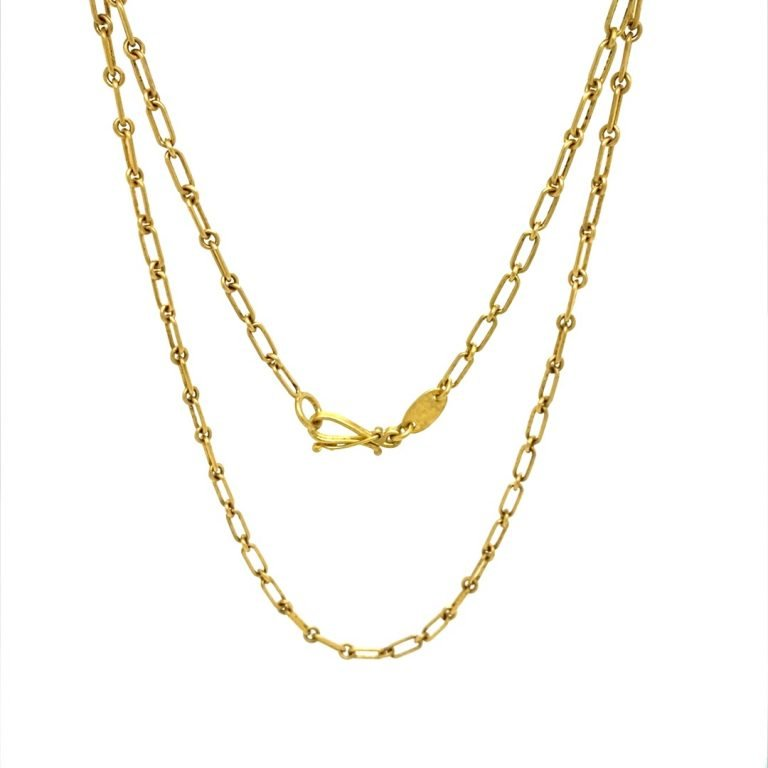 22 Karat Gold Rectangle and Round Links Chain