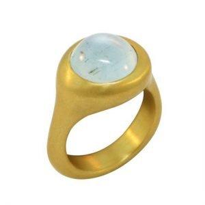 22k aquamarine round ring angle