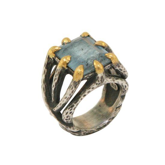 22k aquamarine sterling ring angle
