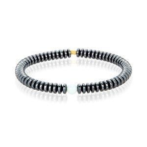 Flat Hematite Aquamarine Bead Bracelet