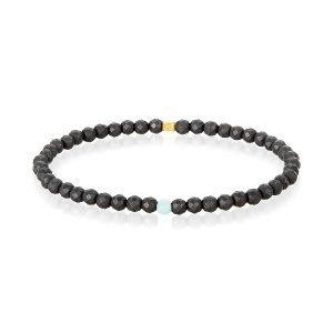 Chiseled Hematite Aquamarine Bead Bracelet
