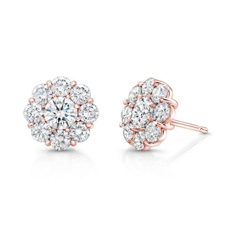 18 Karat Rose Gold Diamond Marigold Flower Earrings