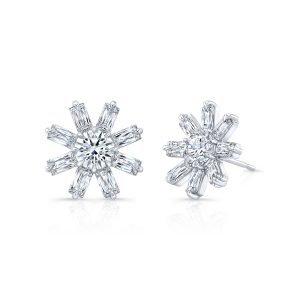 18 Karat White Gold Diamond Sunflower Earrings