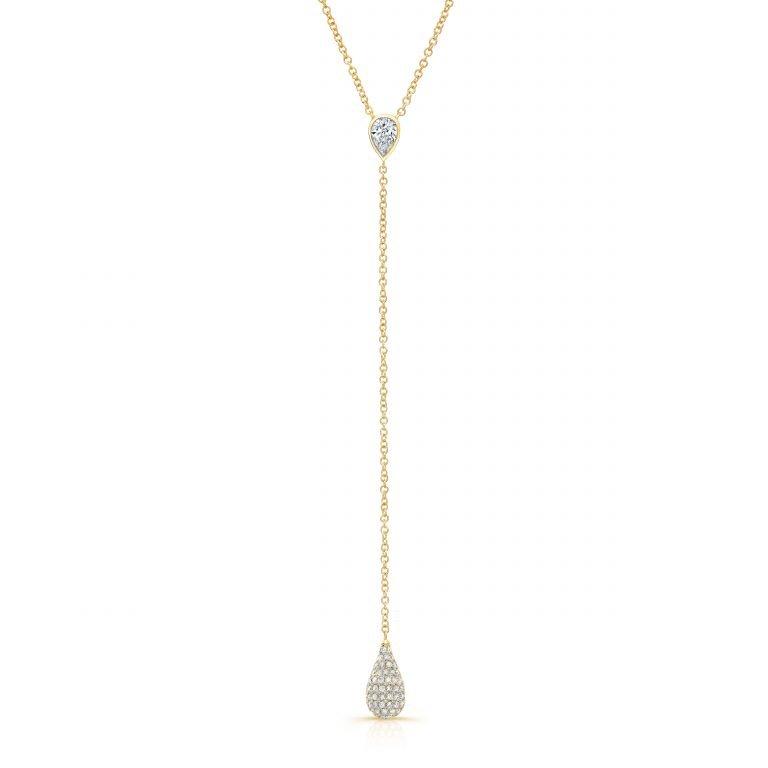 18 Karat Yellow Gold Diamond Drop Necklace