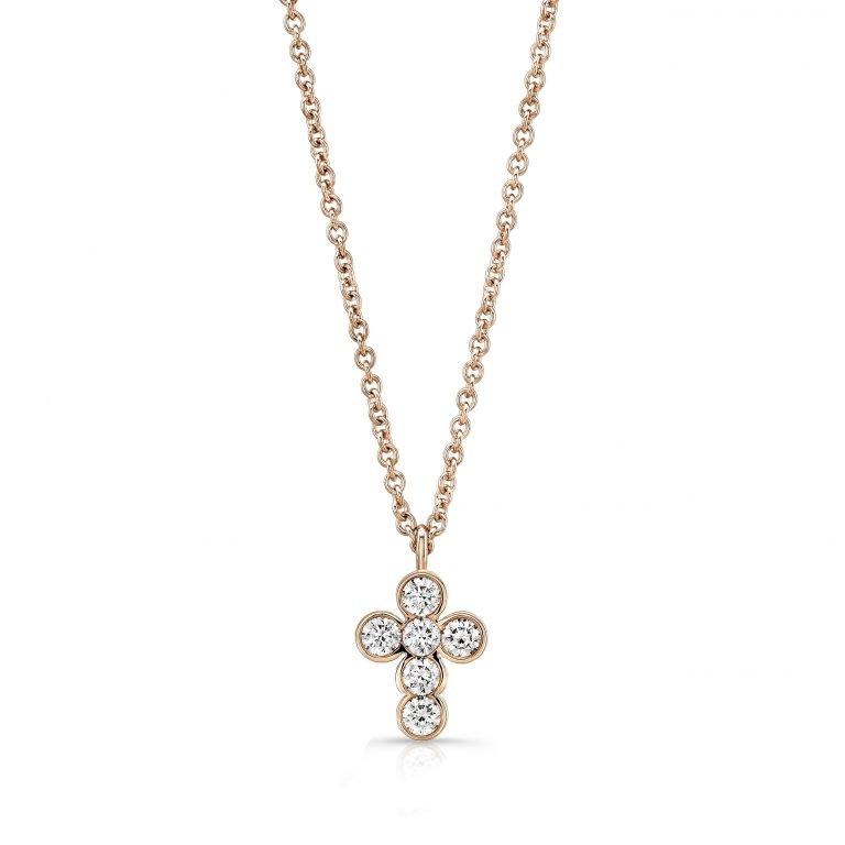 18 Karat Rose Gold Diamond Cross Necklace