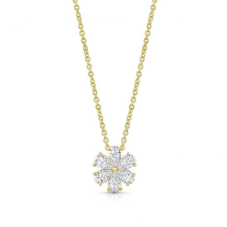 18 Karat Yellow Gold Diamond Wildflower Necklace