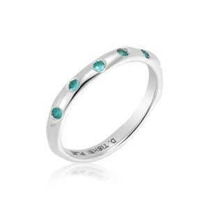 Paraiba Tourmaline Eternity Platinum Wave Ring