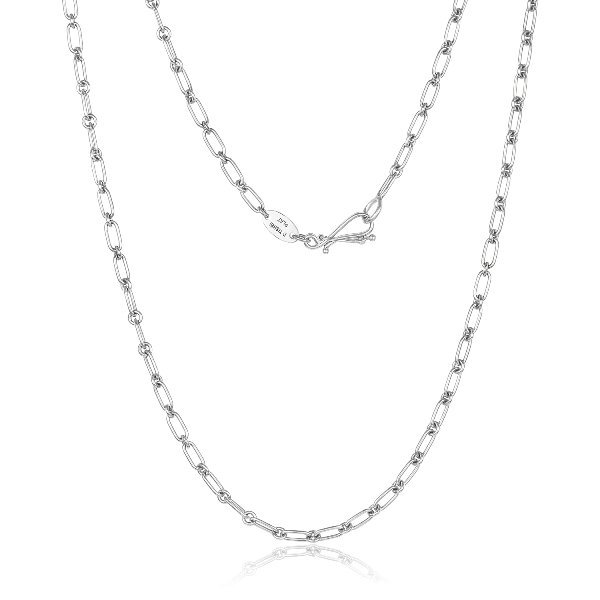 Platinum 0.65MM Rectangle And Round Links Chain With Hook Clasp