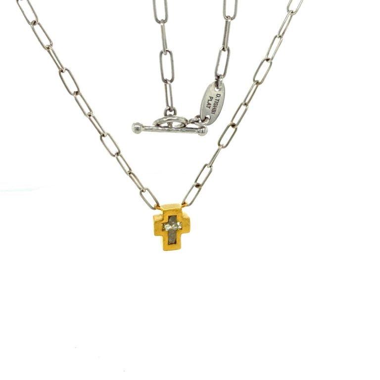 22 Karat Gold Yellow Diamond Cross NecklaceDiamonds