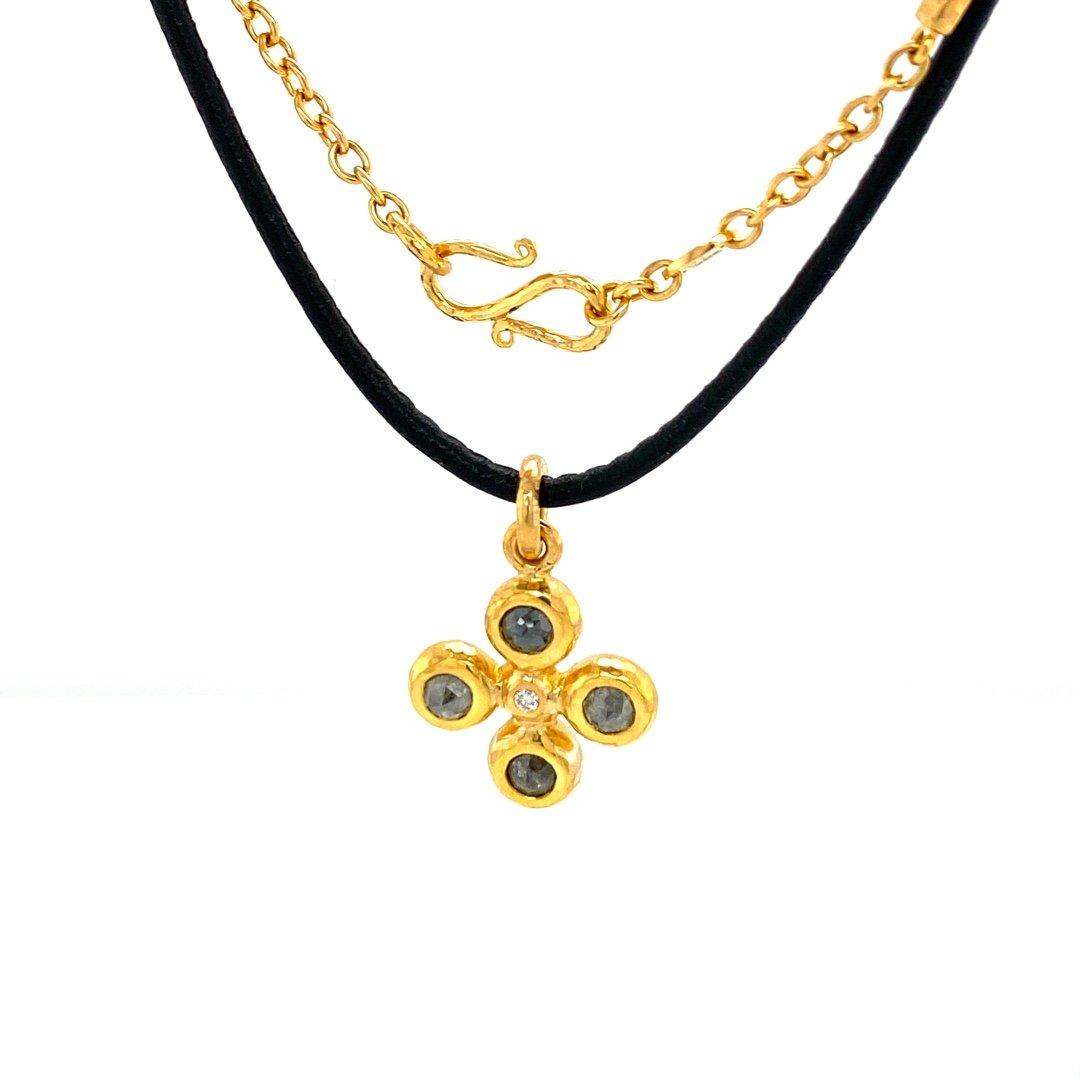22 Karat Gold Diamond Cross Necklace