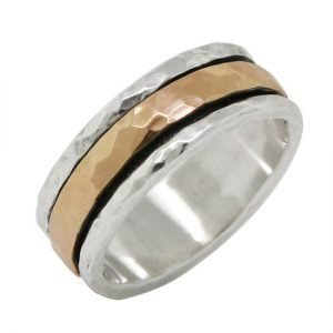 14 Karat Gold and Sterling Silver Canal Spinner Ring