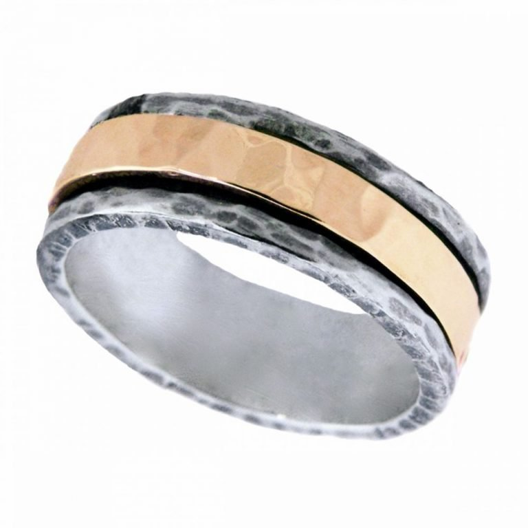 14 Karat Gold Antiqued Sterling Silver Canal Spinner Ring
