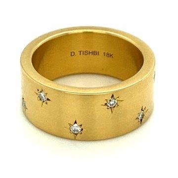 18k gold sparkling diamond stars ring 8.5mm 1