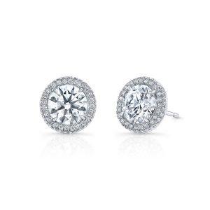 Platinum Halo Diamond Earrings