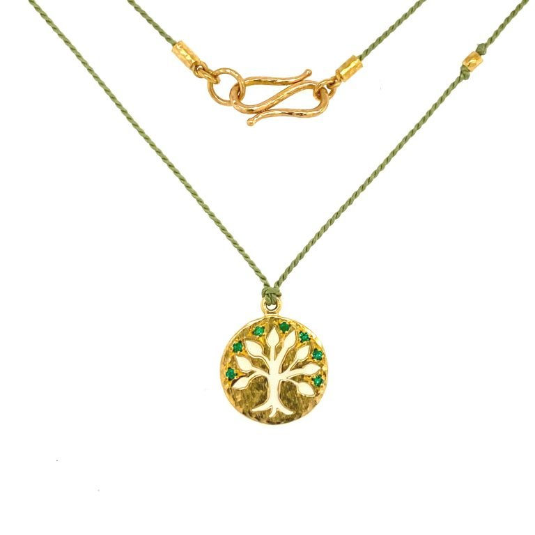 22 Karat Gold Emerald Tree of Life Charm Necklace