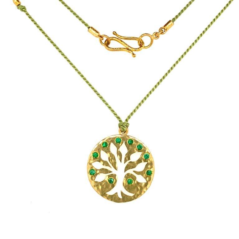 22 Karat Gold Emerald Tree of Life Charm Necklace (Copy)
