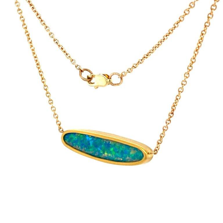 22 Karat Gold Framed Opal Necklace
