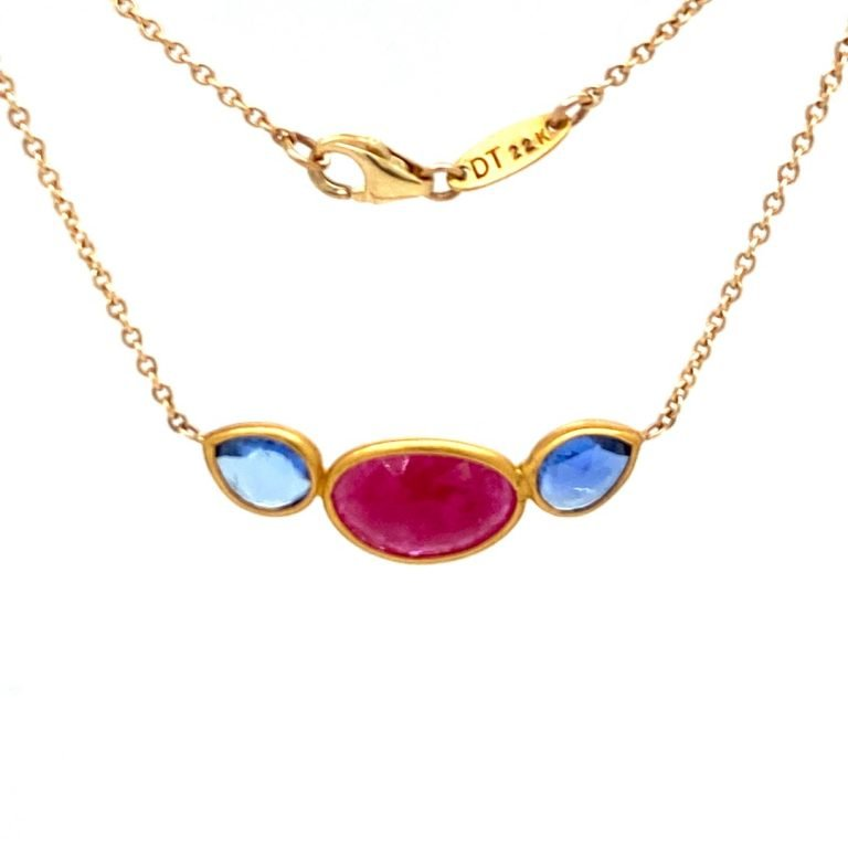 22 Karat Gold Wrapped Sapphire and Ruby Necklace