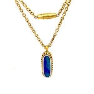 22 Karat Gold and Platinum Australian Opal and Sapphire Necklace