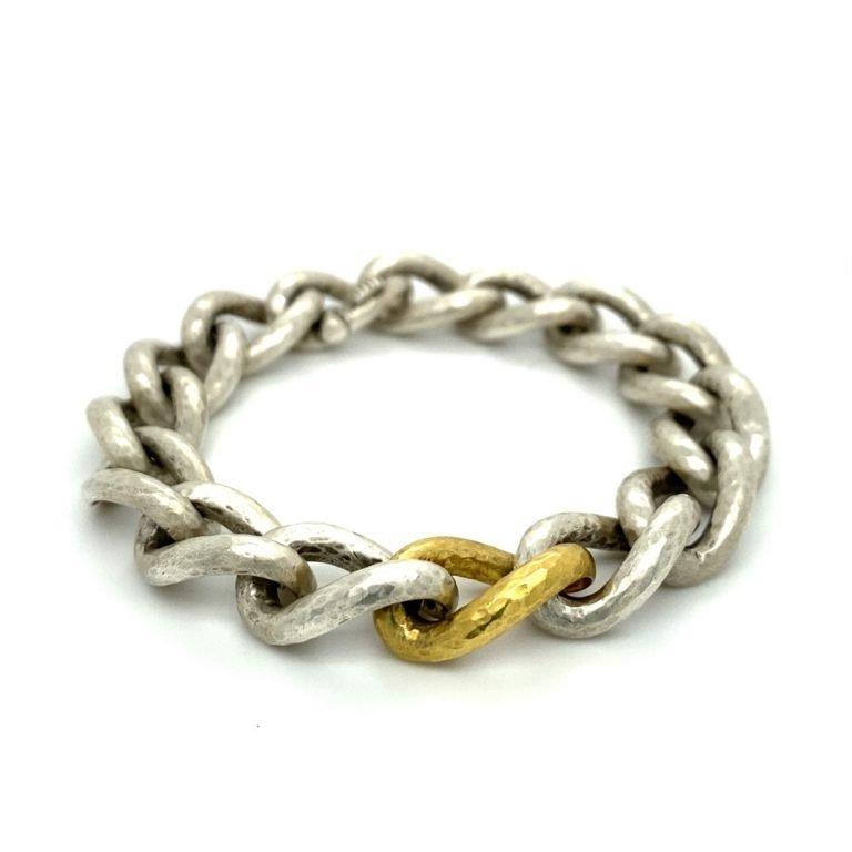 22 Karat Gold and Silver Twisted Links Bracelet