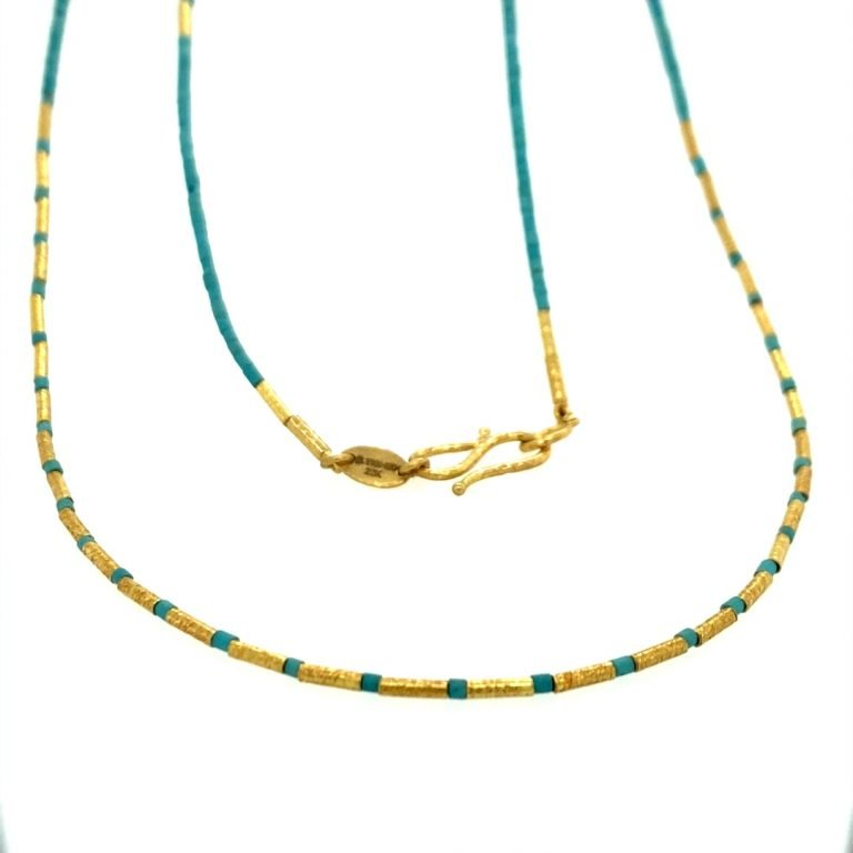 22 Karat Gold and Turquoise Beads Necklace