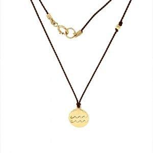 14 Karat Gold Aquarius Zodiac Charm On Brown Silk