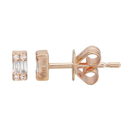 14 Karat Gold Bar Diamond Earrings