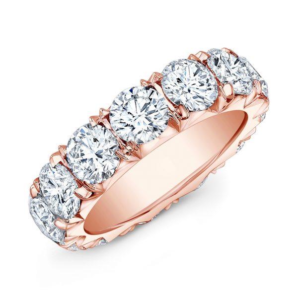 18 Karat Gold Round Diamonds Eternity Wedding Ring