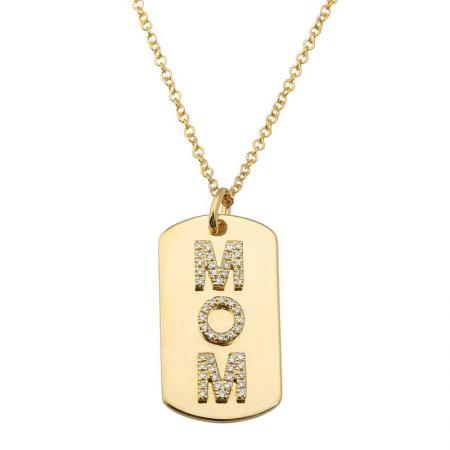 14 Karat Gold Mom Name Tag Necklace