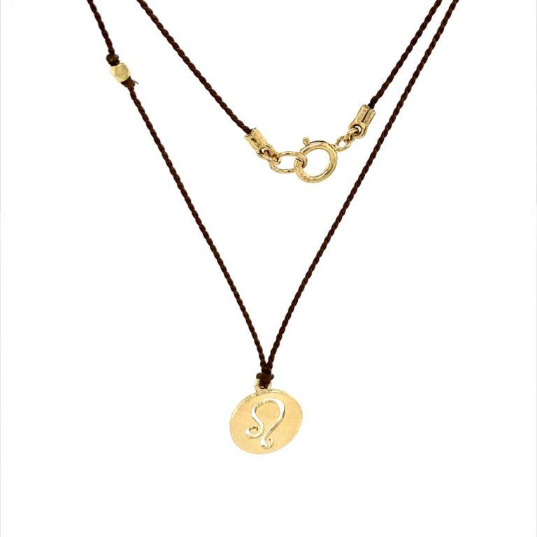14 Karat Gold Leo Zodiac Charm On Brown Silk