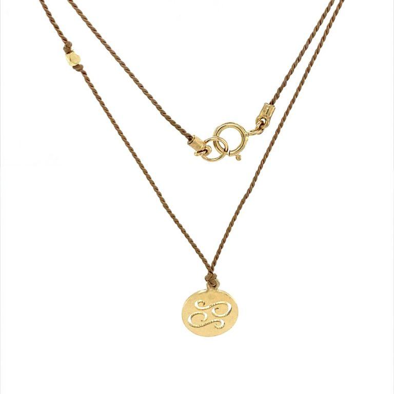 14 Karat Gold Cancer Zodiac Charm On Light Brown Silk