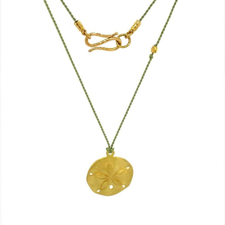 22 Karat Gold Sand Dollar Charm Necklace