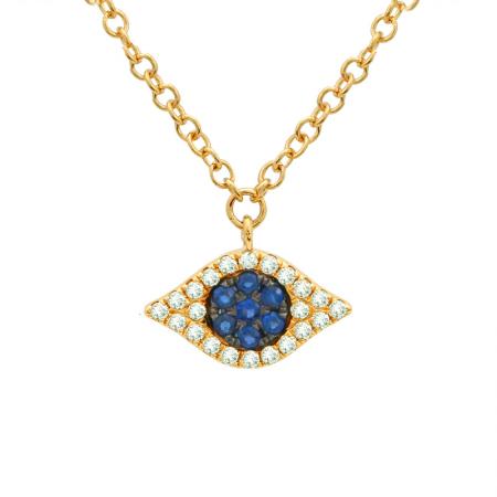 14 Karat Gold Sapphire Eye Necklace